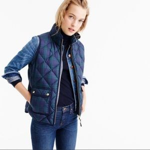 J Crew Excursion Quilted Down Vest Black Watch NWT